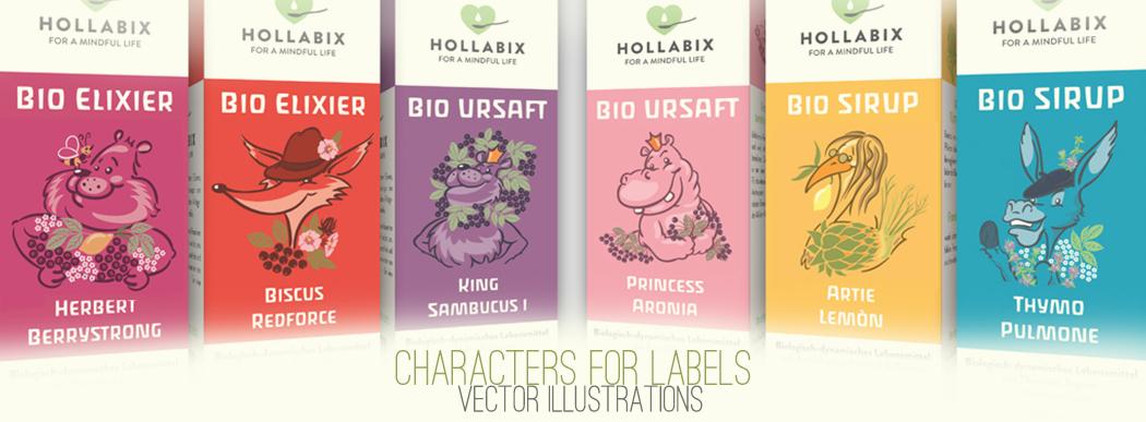 Label-Charaktere für Bio Hollabix Elixiere